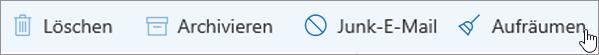 Ein Screenshot zeigt die Zug-Option auf der Symbolleiste für den e-Mail-aktiviert.