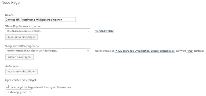 Screenshot: Erstellen und Speichern einer neuen Regel für den Posteingang mit Relevanz