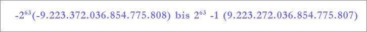 """Bereich des Datentyps """"Große Zahl"""""""