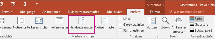 """Zeigt """"Ansicht > Handzettelmaster"""" in PowerPoint"""