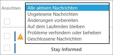 """Aufgeklapptes Menü """"Ansichten"""" des Nachrichtencenters, um Filter anzuzeigen"""