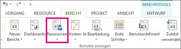 Schaltfläche 'Ressourcen' auf der Registerkarte 'Bericht'