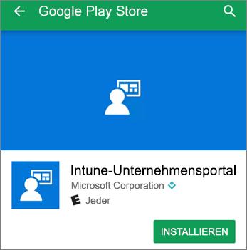 Screenshot der Installationsschaltfläche für das Intune-Unternehmensportal im Google Play Store