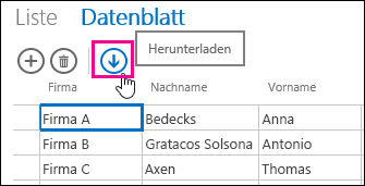 Download in Excel action button on Datasheet view