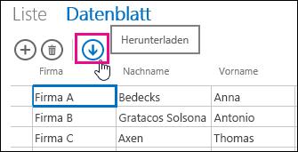"""Schaltfläche """"in Excel herunterladen"""" in der Datenblattansicht"""