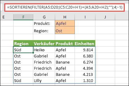 """FILTER und SORTIEREN zusammen – Filtern nach """"Produkt"""" (""""Apfel"""") ODER nach """"Region"""" (""""Ost"""")"""