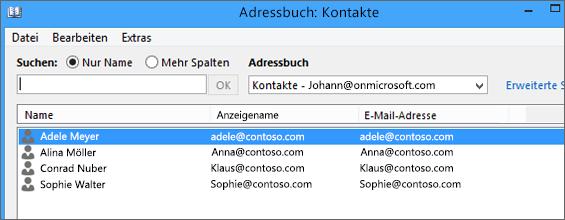 Beim Importieren aus Gmail in Office 365 werden Ihre Kontakte im Adressbuch aufgelistet: Kontakte
