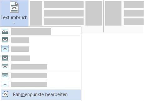 """Option """"Rahmenpunkte bearbeiten"""" für """"Zeilenumbruch"""" im Menüband"""