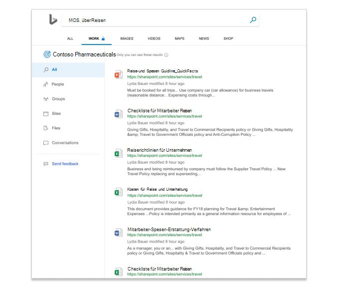 Suchergebnisse in Microsoft Search in Bing, in dem Dateien in einem Unternehmen angezeigt werden.