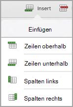 "iPad: Tabelle, Menü ""Einfügen"""