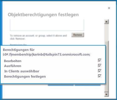 Screenshot des Dialogfelds 'Objektberechtigungen festlegen' in SharePoint Online. Mithilfe dieses Dialogfelds können Sie Berechtigungen für einen angegebenen externen Inhaltstyp festlegen.