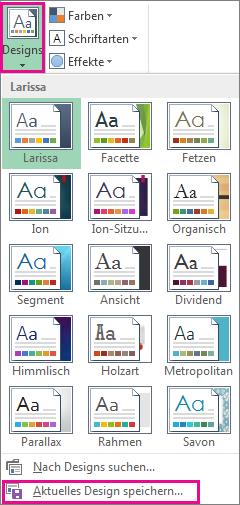 Designkatalog, auf den über die Schaltfläche 'Design' zugegriffen wird