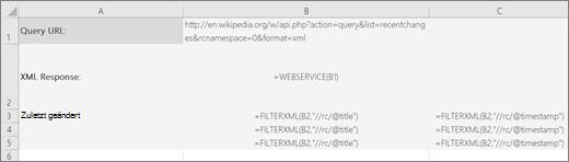 Beispiel für die Funktion FILTERXML