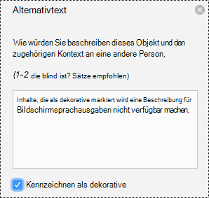 "Dekoratives Bild ""Alternativtext"" in PowerPoint für Mac in Office 365."