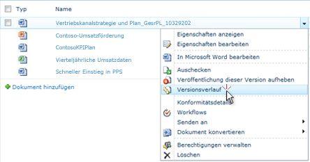 Dropdownliste für eine SharePoint-Datei mit ausgewähltem Versionsverlauf