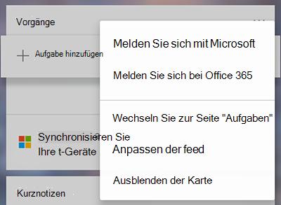 Screenshot der Option zum Anmelden bei Microsoft oder Office 365 im Menü weitere Aufgabenkarte mehr