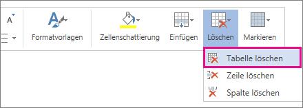 """Abbildung eines Teils des Popupmenüs, das angezeigt wird, wenn Sie in Word Web App den Inhalt einer Tabellenzelle markieren, Option """"Tabelle löschen"""" hervorgehoben"""