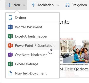 Screenshot, der zeigt, wie eine Datei oder ein Ordner auf OneDrive erstellt wird