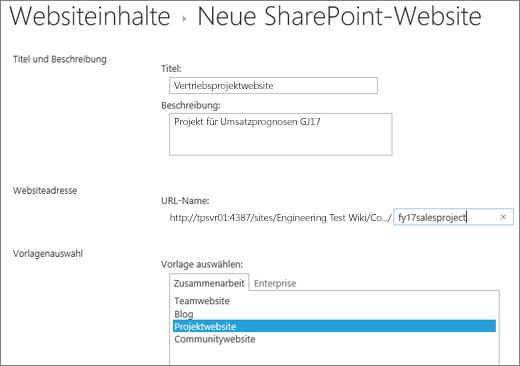 Bildschirm für die Erstellung einer SharePoint 2016-Unterwebsite