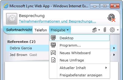 Menü 'Freigabe' in Lync Web App