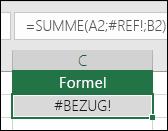 Excel zeigt den Fehler #BEZUG! an, wenn ein Zellbezug ungültig ist.