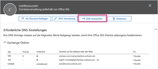 """Der Screenshot zeigt die Seite """"Erforderlichen DNS-Einstellungen"""" mit dem Fokus auf der Schaltfläche """"DNS überprüfen""""."""