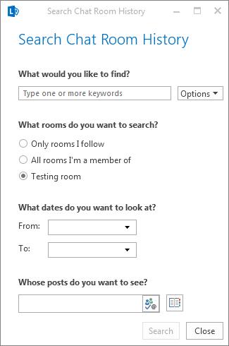 Screenshot des Dialogfelds zum Durchsuchen des Chatroomverlaufs