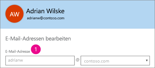 "Screenshot des Profilfelds ""E-Mail-Adresse"" in Office 365"