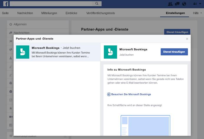 Screenshot zeigt an, dass der Bereich Partner-Apps und Dienste einen Dienst hinzufügen.