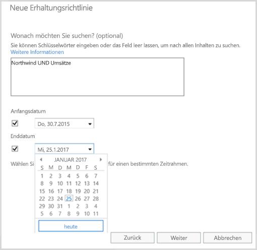 Verwenden von Schlüsselwörtern und Datumsbereichen als Filter beim Erstellen einer Erhaltungsrichtlinie