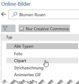 """Die Schaltfläche """"Filter"""" auswählen und dann """"ClipArt"""" wählen."""
