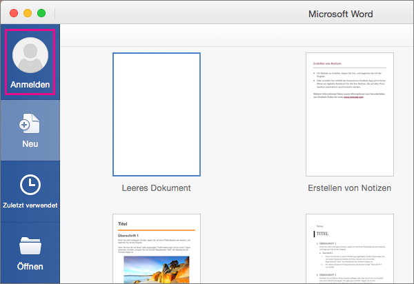 """Klicken Sie im Menü """"Datei"""" auf """"Neu aus Vorlage"""", und klicken Sie dann auf """"Anmelden"""", um sich bei Office anzumelden."""