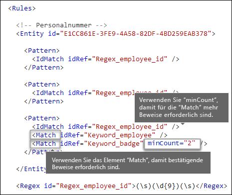 """XML-Markup mit dem Element """"Übereinstimmung"""" und dem Attribut """"minVorkommen"""""""