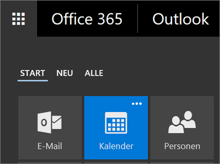 "Screenshot der Kachel ""Kalender"" im Office365-App-Startfeld"