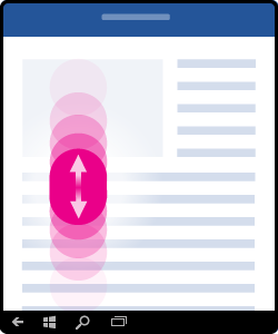 Grafik, die zeigt, wie gescrollt wird (drücken und den Finger auf dem Display nach oben und unten bewegen)