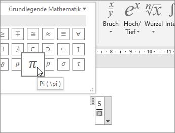 Auswählen eines Symbols (Pi) für einen Platzhalter in einer Formelstruktur
