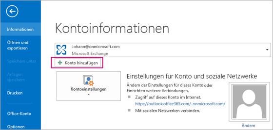 """Klicken Sie auf die Schaltfläche """"Konto hinzufügen"""", um in Outlook ein Gmail-Konto hinzuzufügen."""