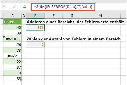 """Verwenden von Arrays zum Behandeln von Fehlern Beispiel: = Summe (wenn (IsError (Daten); """"""""; Daten) summiert den Bereich mit dem Namen """"Daten"""", auch wenn er Fehler enthält, wie #Value! oder #na!."""