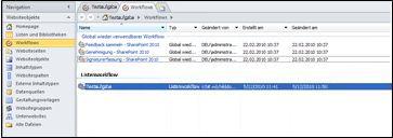 In SharePoint Designer können Sie zu einem neu erstellten Duet-Workflow navigieren.