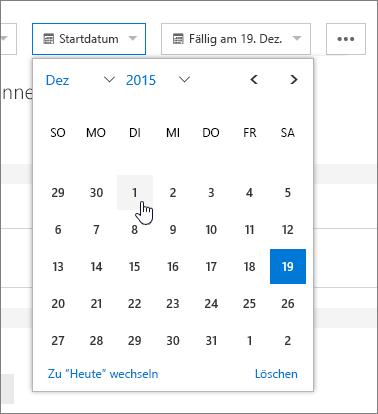 Datumsfelder in Aufgabendetails