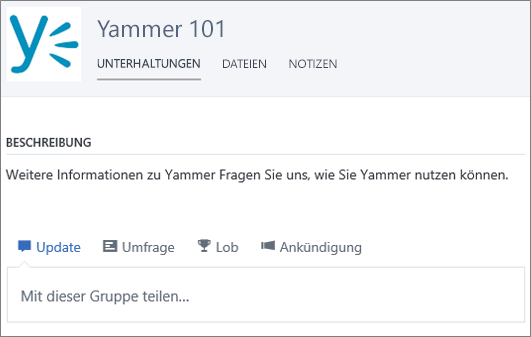 Ein Beispiel einer Yammer 101-Gruppe