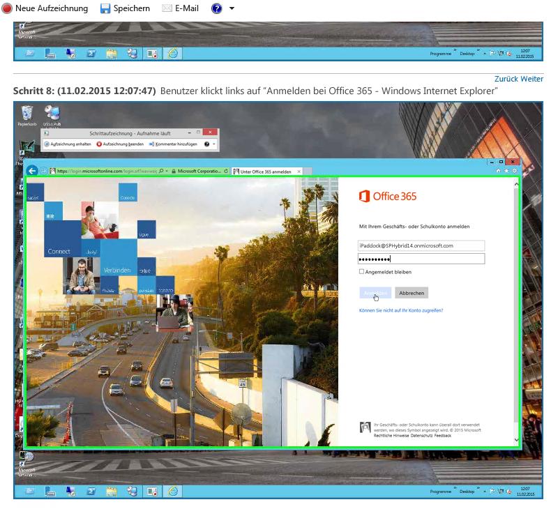 Die Problemaufzeichnung zeigt eine Anmeldung bei Office 365 in Schritt 1 um 12:07 und 47 Sekunden.
