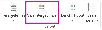 Schaltfläche 'Gesamtergebnisse' auf der Registerkarte 'Entwurf'