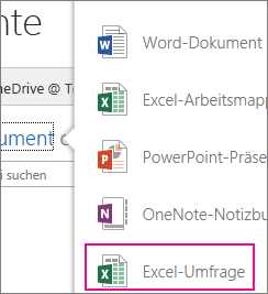 Eine Excel-Umfrage in OneDrive for Business erstellen