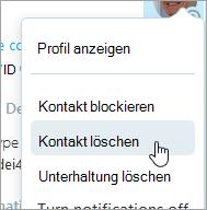 Ein Screenshot der Kontakt Löschoption in dem Kontakt Skype-Kontextmenü