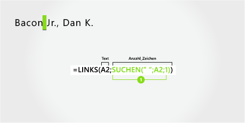 Formel zum Extrahieren des Nachnamens, eines Suffixes und der Vornamens, mit Komma