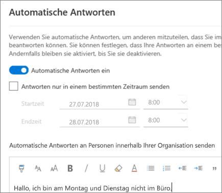 Erstellen einer Abwesenheitsantwort in Outlook im Web