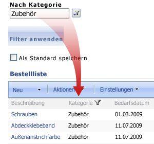 Das Auswahlfilter-Webpart filtert die Bestellliste nach Zuhör.