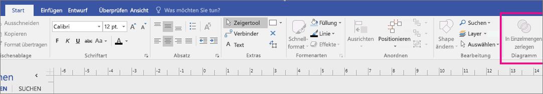 Fragment im Diagrammbereich wird auf der Visio-Startregisterkarte angezeigt.