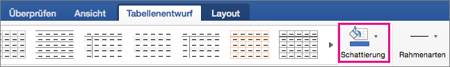 """Auf der Registerkarte """"Tabellenentwurf"""" ist """"Rahmen"""" hervorgehoben."""